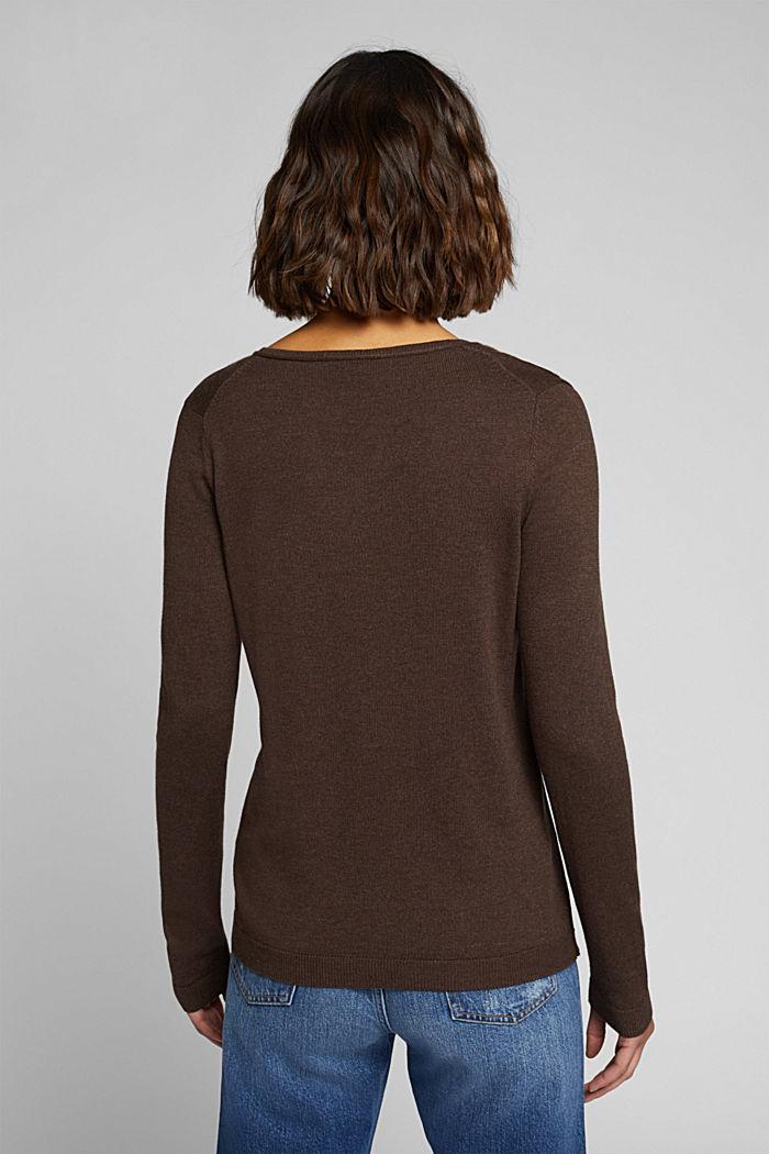Basic V-neck jumper, organic cotton, DARK BROWN, detail image number 3