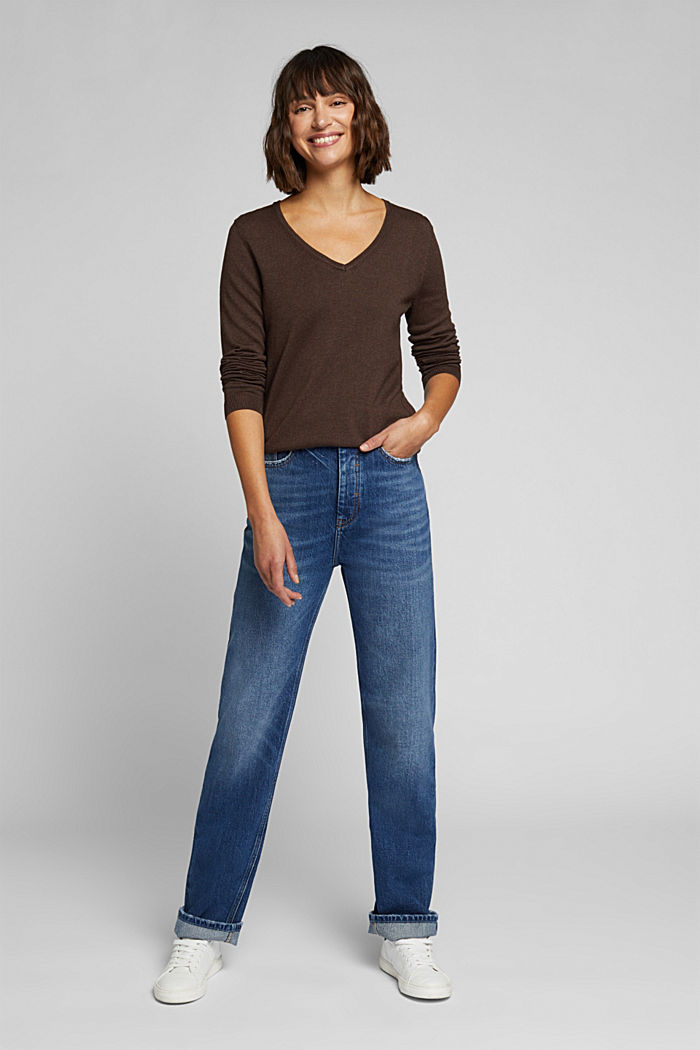 Basic V-neck jumper, organic cotton, DARK BROWN, detail image number 1
