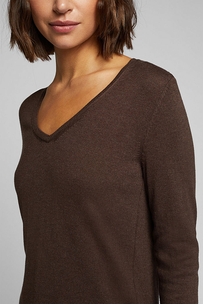 Basic V-neck jumper, organic cotton, DARK BROWN, detail image number 2