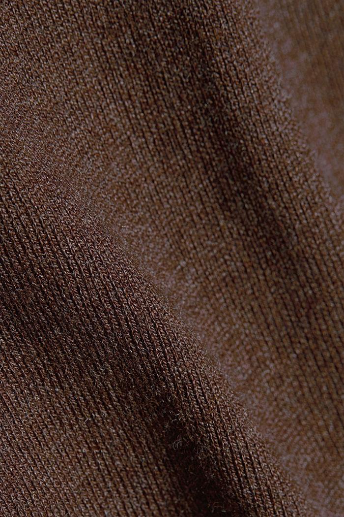 Basic V-neck jumper, organic cotton, DARK BROWN, detail image number 4