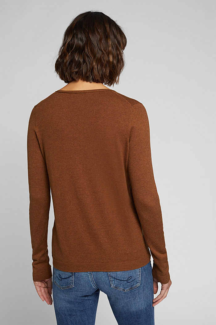 Basic trui met V-hals, organic cotton, TOFFEE, detail image number 3