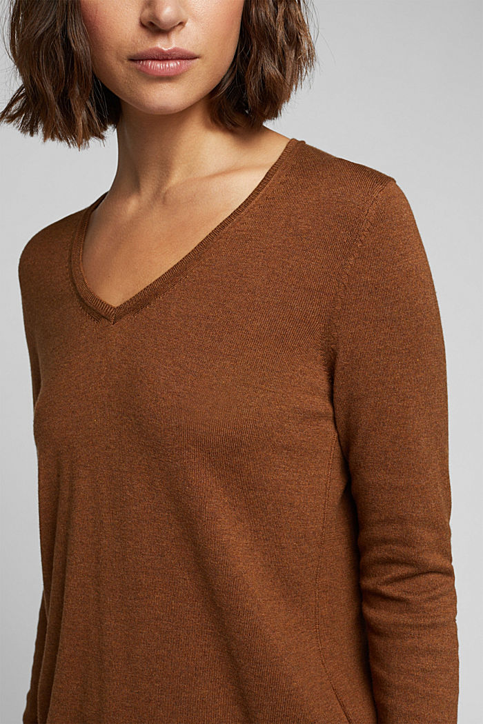 Basic trui met V-hals, organic cotton, TOFFEE, detail image number 2