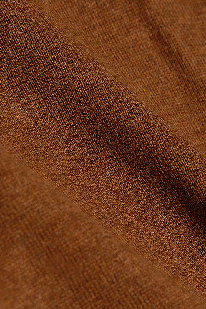 Basic trui met V-hals, organic cotton, TOFFEE, detail image number 4