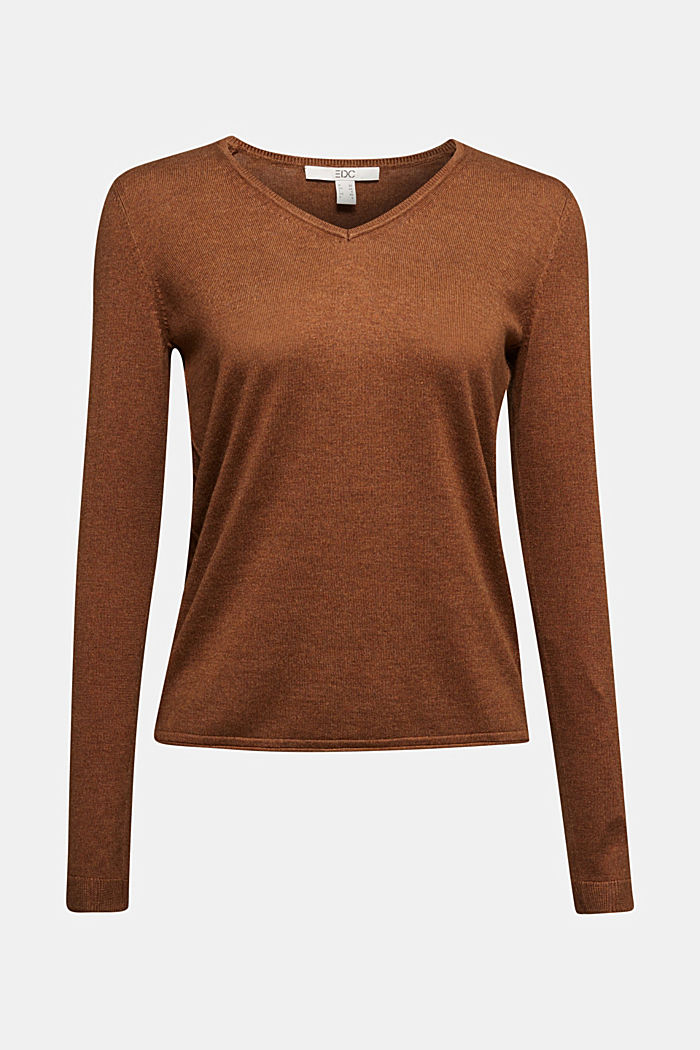 Basic trui met V-hals, organic cotton, TOFFEE, detail image number 5