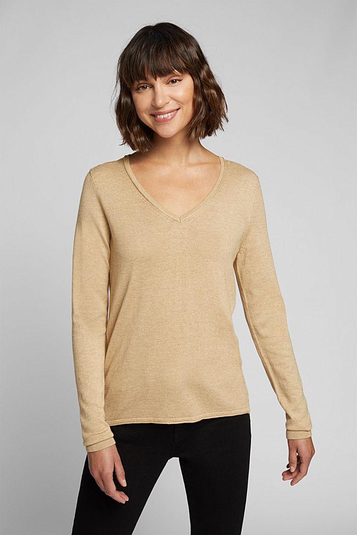 Basic V-neck jumper, organic cotton, BEIGE, detail image number 0