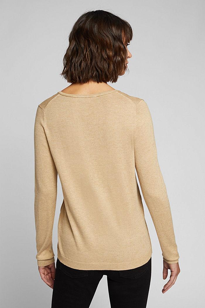 Basic V-neck jumper, organic cotton, BEIGE, detail image number 3