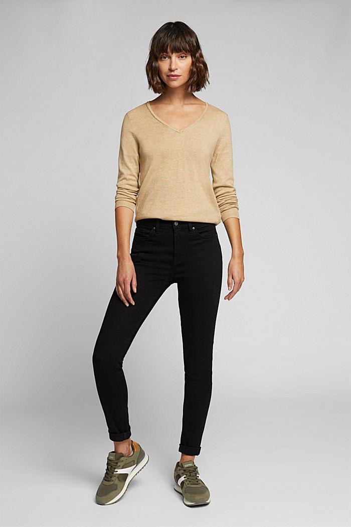 Basic V-neck jumper, organic cotton, BEIGE, detail image number 1