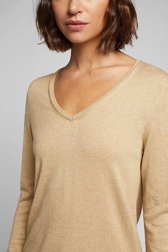 Basic V-neck jumper, organic cotton, BEIGE, detail image number 2