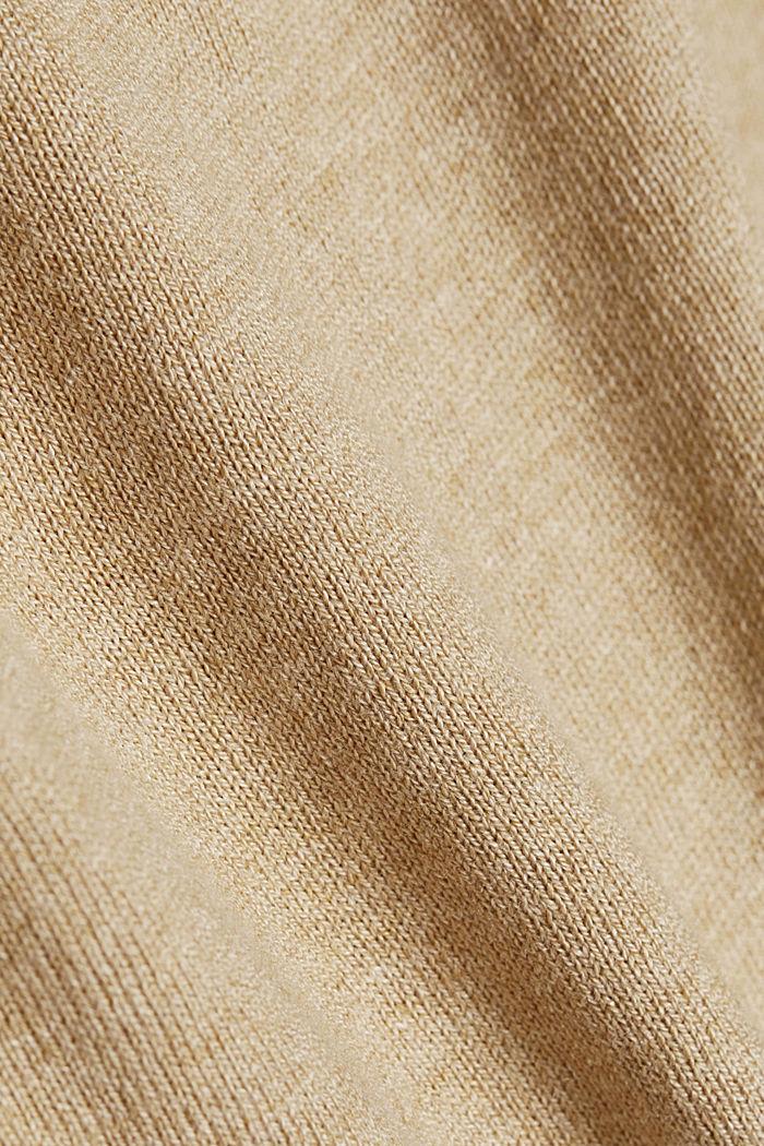 Basic V-neck jumper, organic cotton, BEIGE, detail image number 4