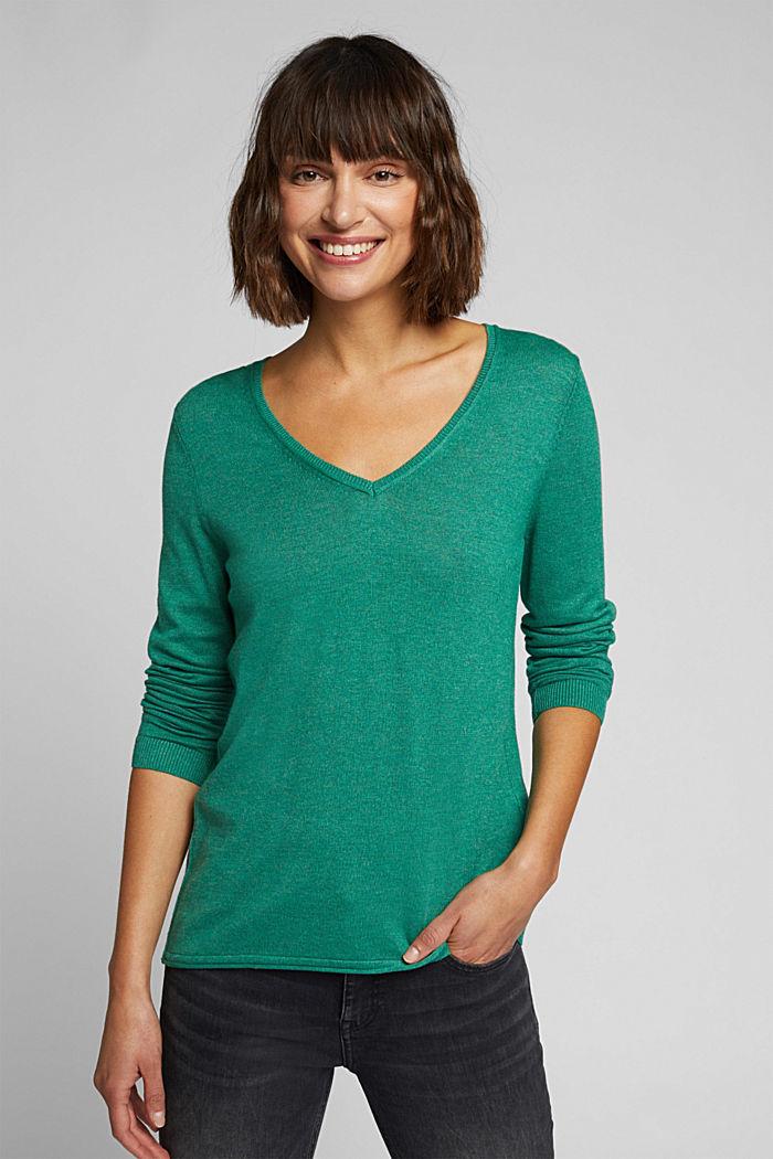 Basic V-neck jumper, organic cotton, DARK GREEN, detail image number 0