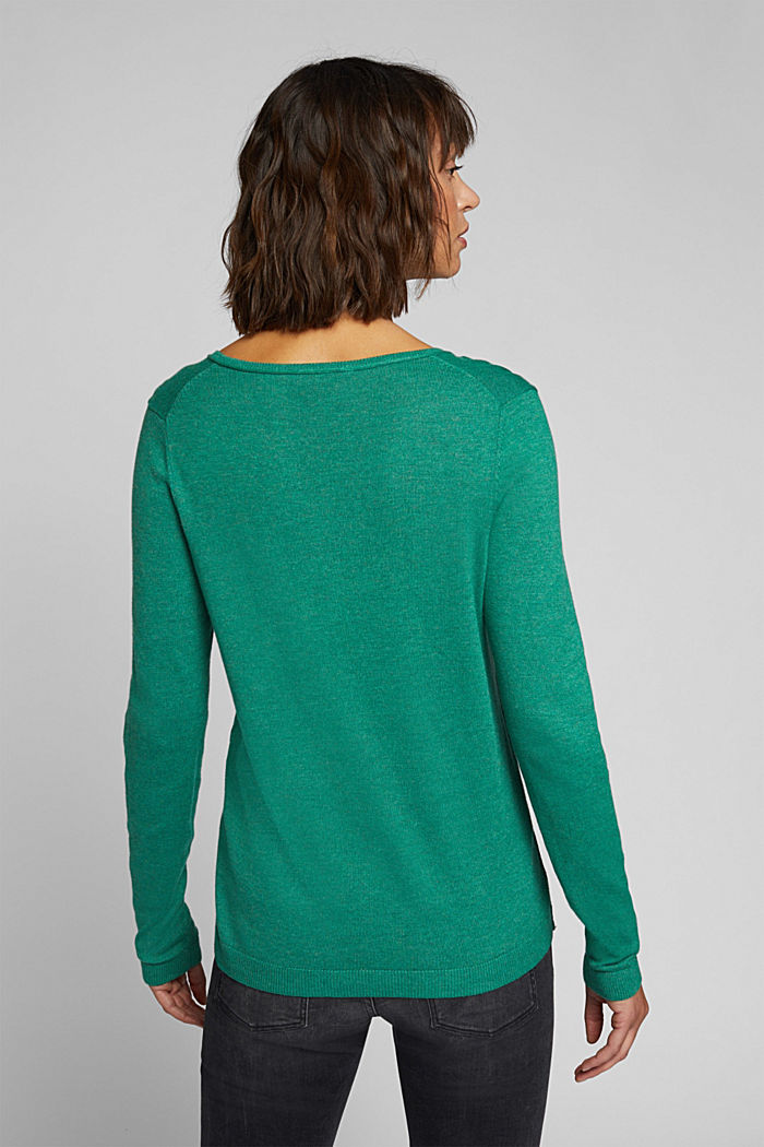 Basic V-neck jumper, organic cotton, DARK GREEN, detail image number 3