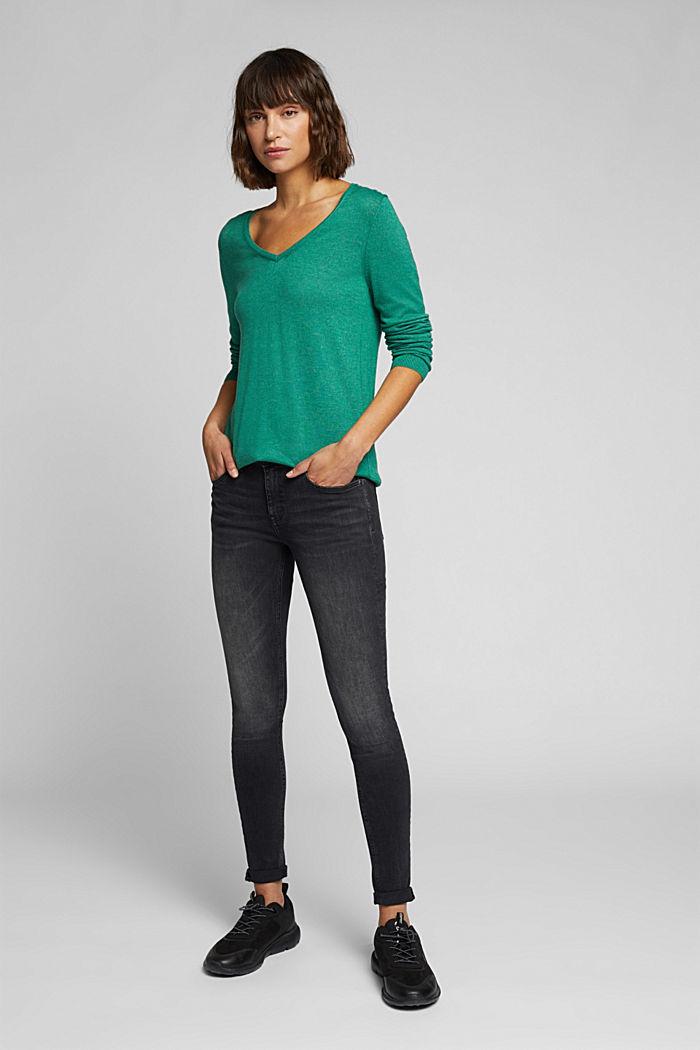 Basic V-neck jumper, organic cotton, DARK GREEN, detail image number 1