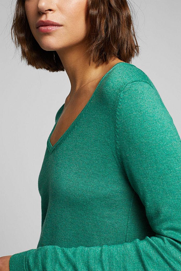 Basic V-neck jumper, organic cotton, DARK GREEN, detail image number 2