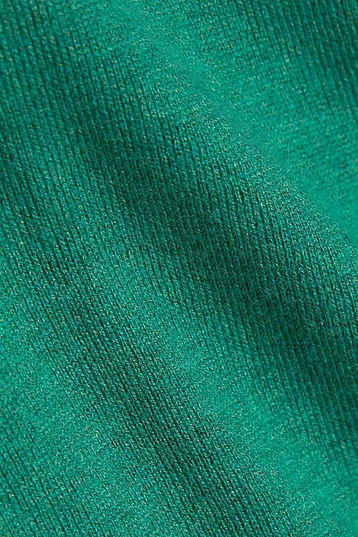 Basic V-neck jumper, organic cotton, DARK GREEN, detail image number 4
