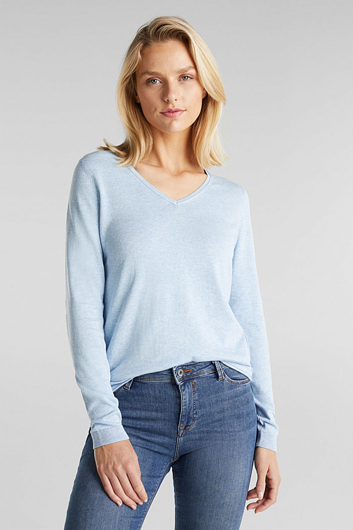 Basic V-neck jumper, organic cotton