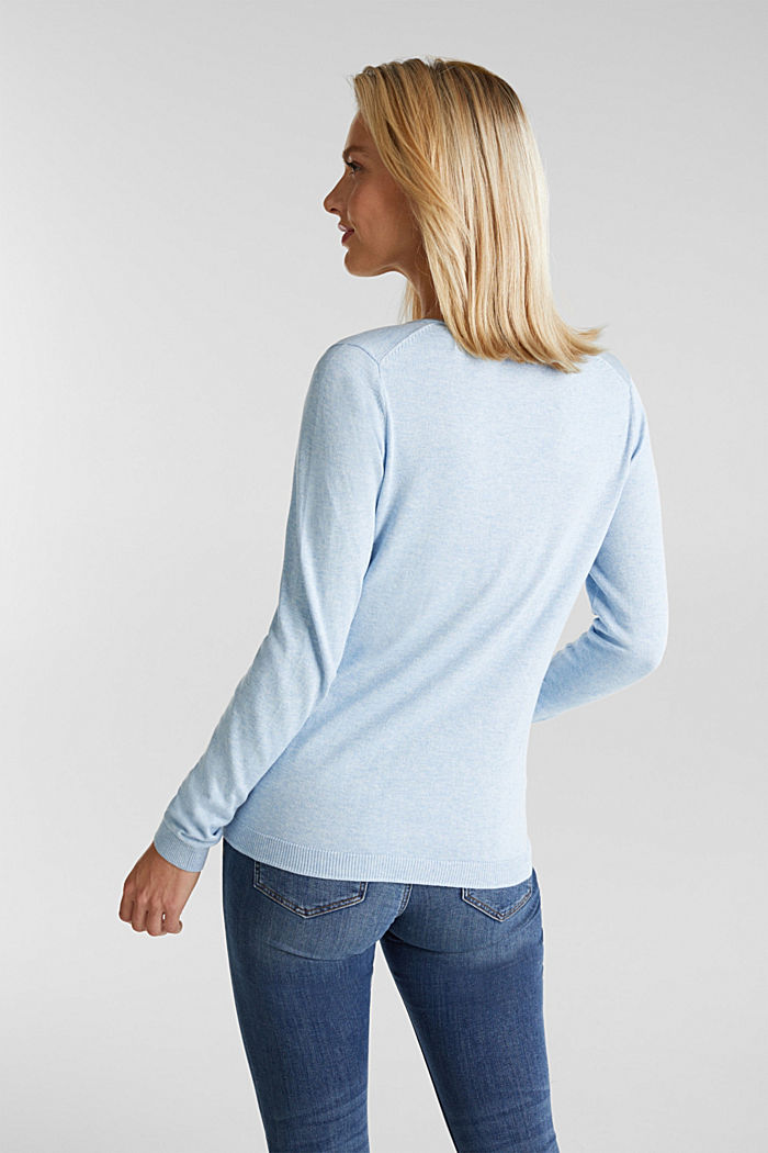 Basic V-Neck-Pullover, Organic Cotton, LIGHT BLUE, detail image number 3