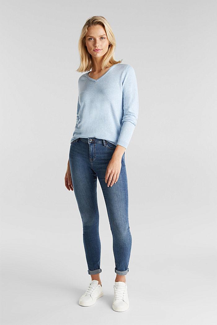 Basic V-neck jumper, organic cotton, LIGHT BLUE, detail image number 1