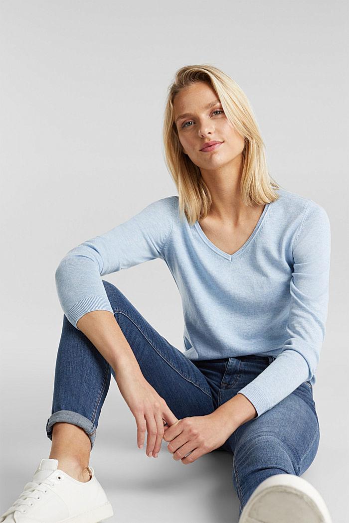 Basic V-neck jumper, organic cotton, LIGHT BLUE, detail image number 5