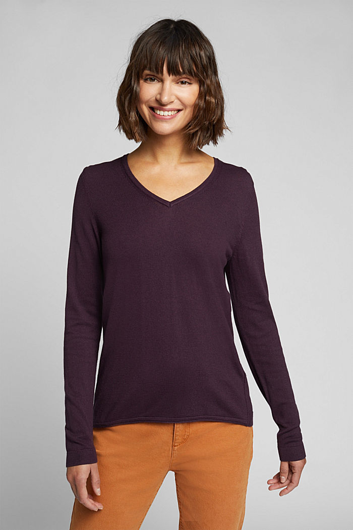 Basic V-neck jumper, organic cotton, AUBERGINE, detail image number 0