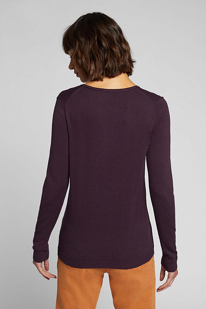 Basic V-neck jumper, organic cotton, AUBERGINE, detail image number 3