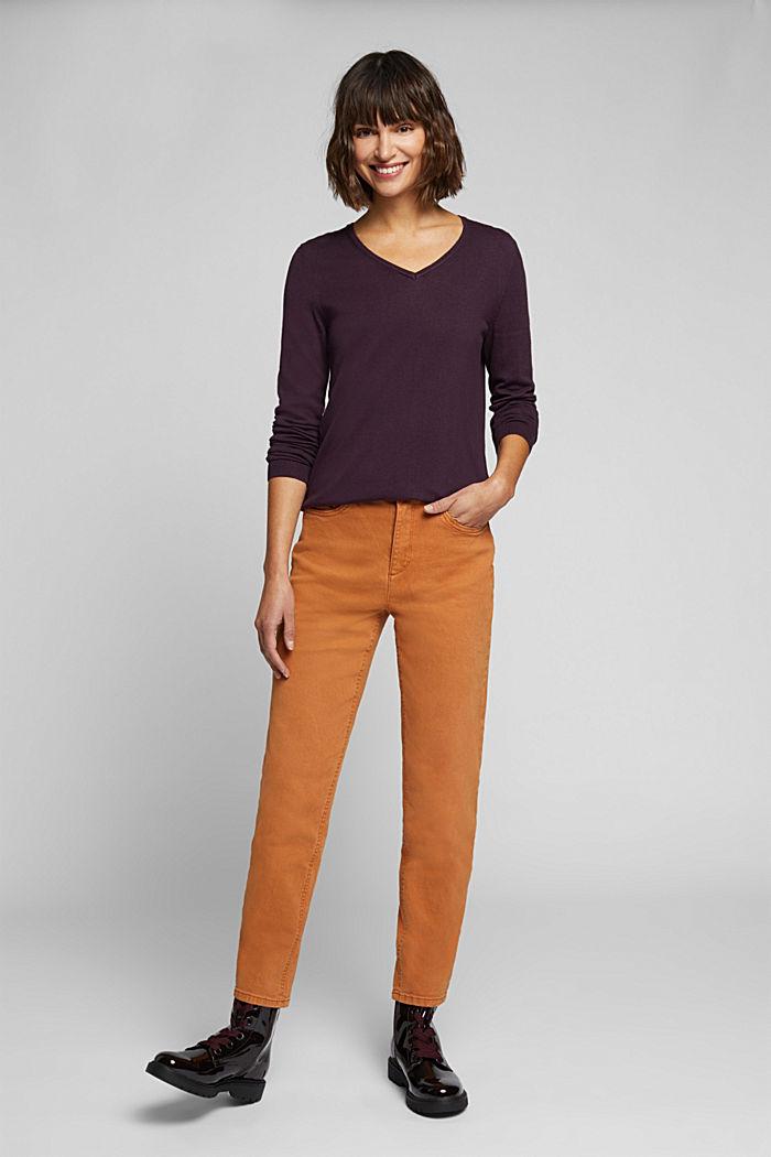 Basic V-neck jumper, organic cotton, AUBERGINE, detail image number 1