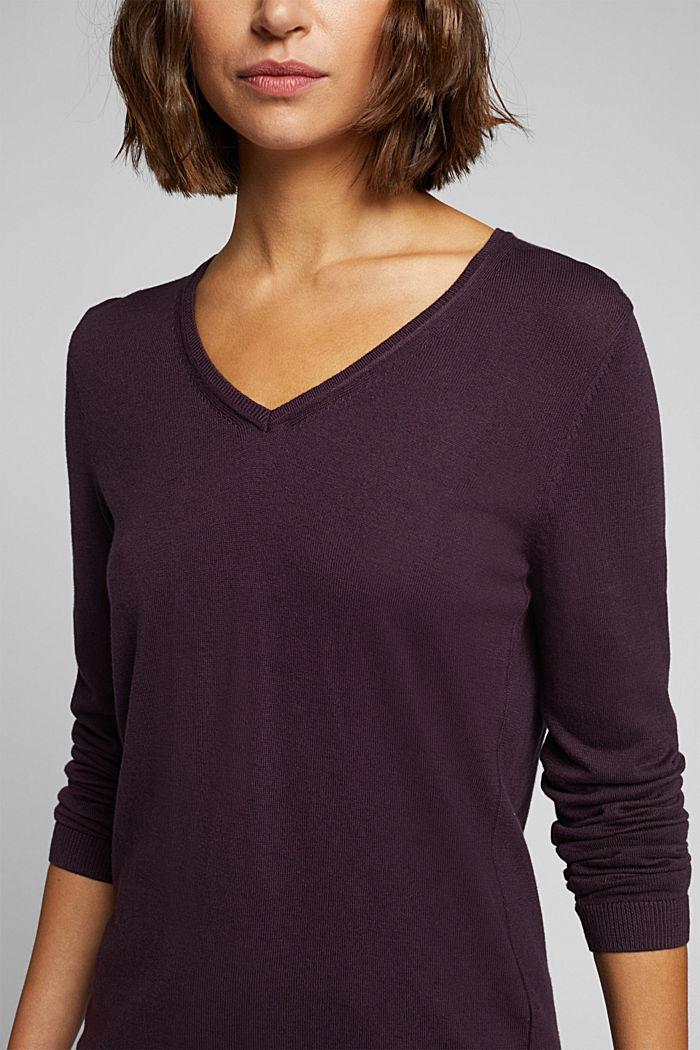 Basic V-neck jumper, organic cotton, AUBERGINE, detail image number 2