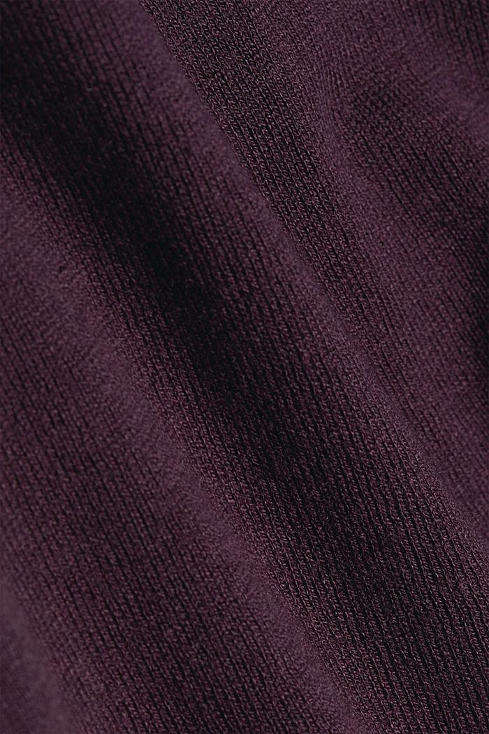 Basic V-neck jumper, organic cotton, AUBERGINE, detail image number 4