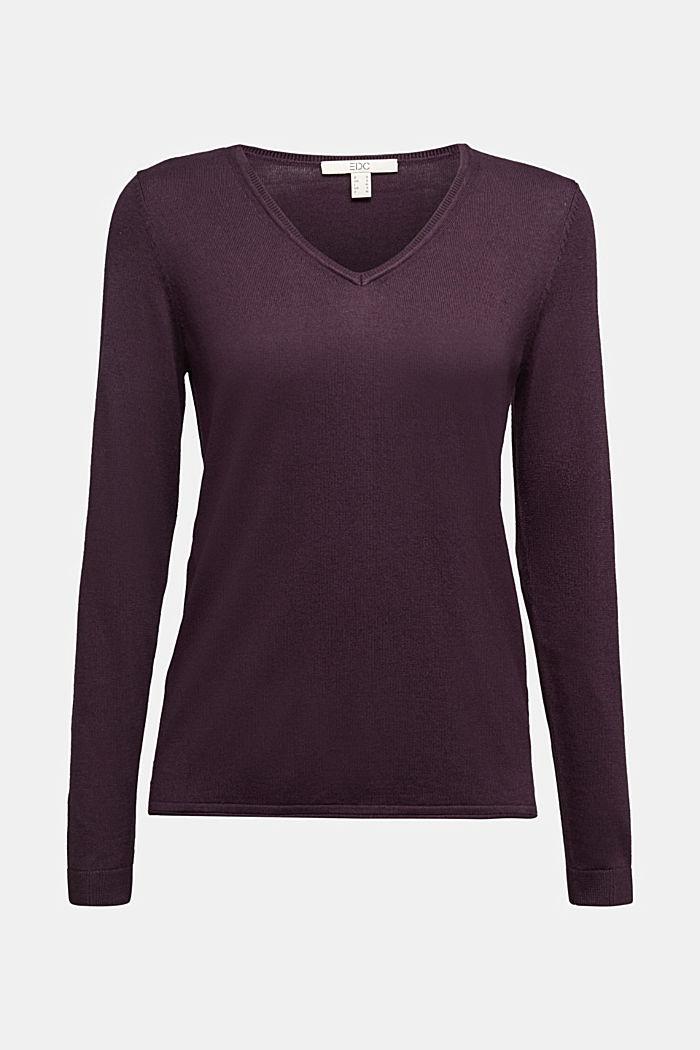 Basic V-neck jumper, organic cotton, AUBERGINE, detail image number 5