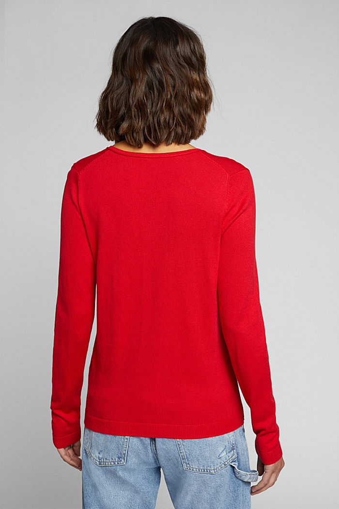 Basic V-neck jumper, organic cotton, RED, detail image number 3