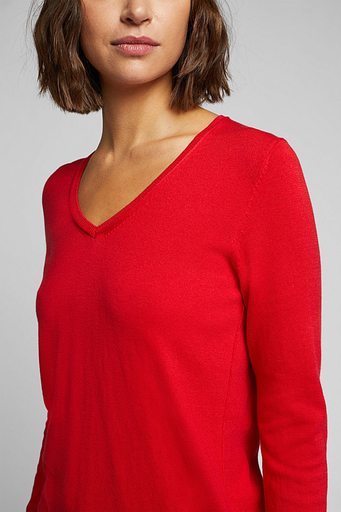 Basic V-neck jumper, organic cotton, RED, detail image number 2