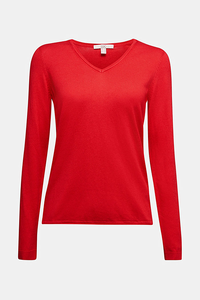 Basic V-neck jumper, organic cotton, RED, detail image number 5