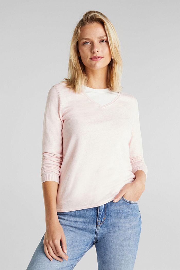 Basic V-Neck-Pullover, Organic Cotton, LIGHT PINK, detail image number 0