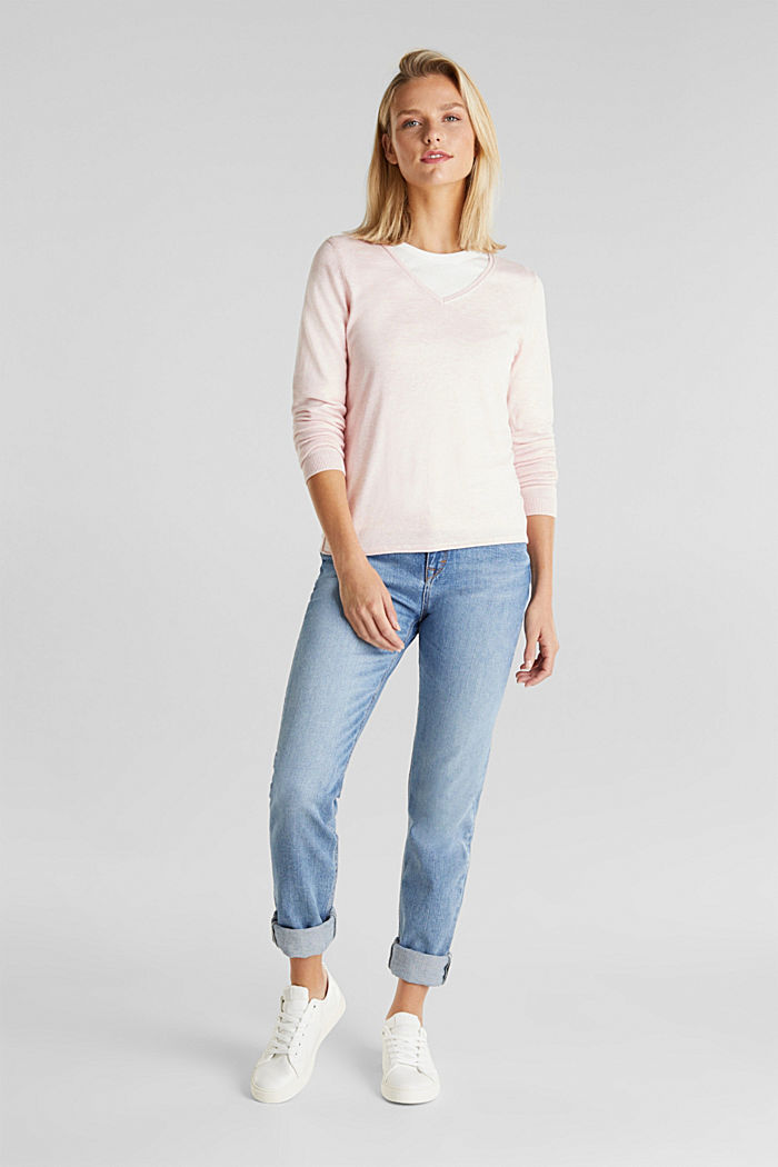 Basic V-Neck-Pullover, Organic Cotton, LIGHT PINK, detail image number 1