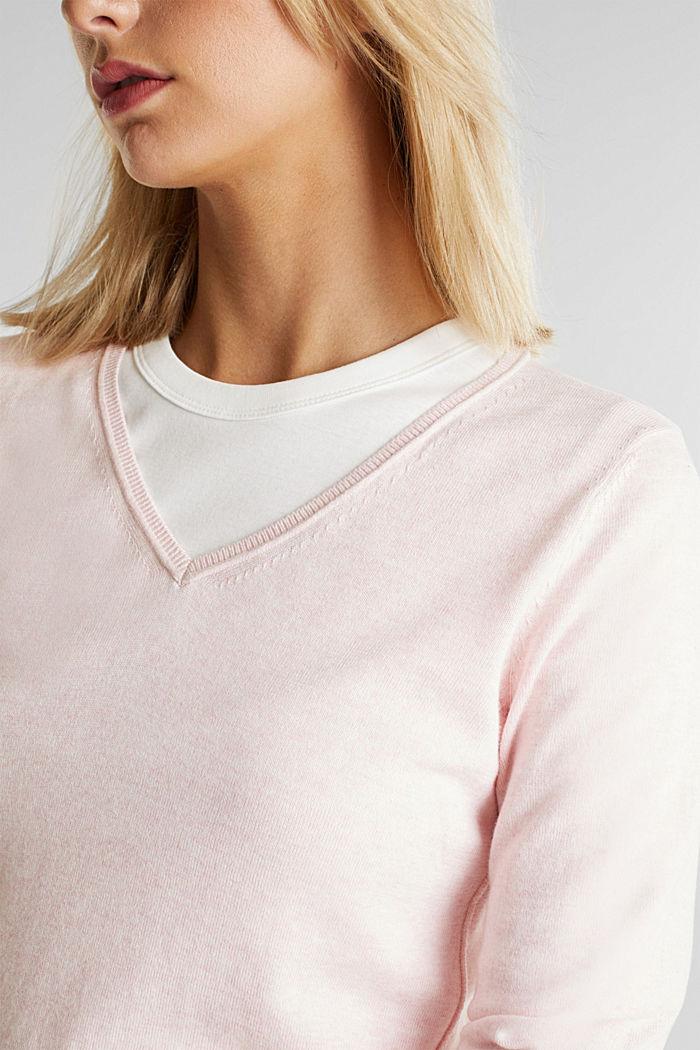 Basic V-Neck-Pullover, Organic Cotton, LIGHT PINK, detail image number 2