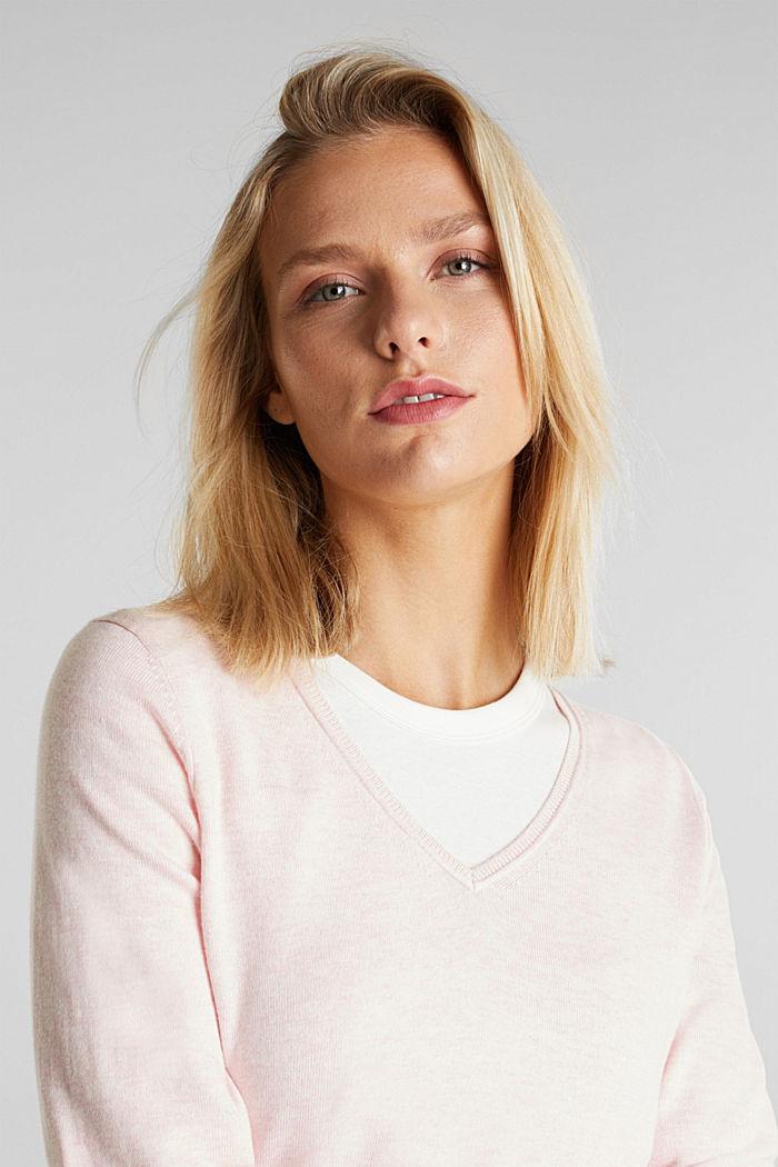 Basic V-Neck-Pullover, Organic Cotton, LIGHT PINK, detail image number 5