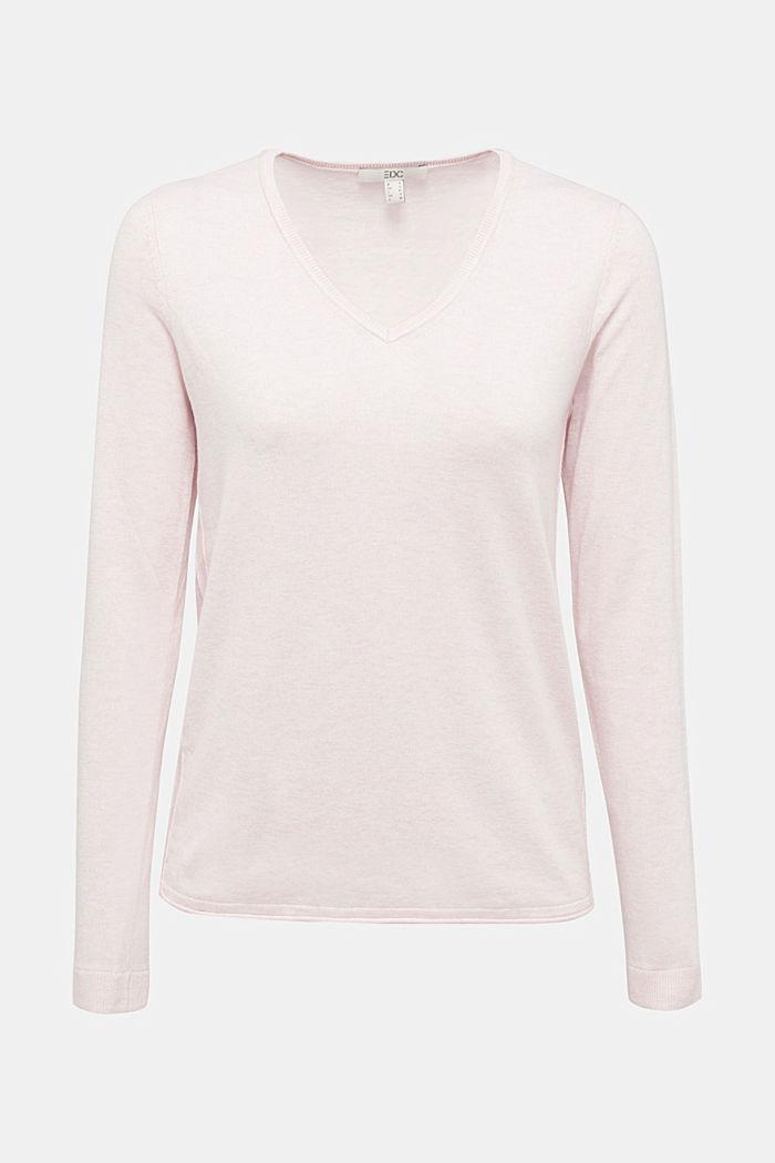Basic V-Neck-Pullover, Organic Cotton, LIGHT PINK, detail image number 6