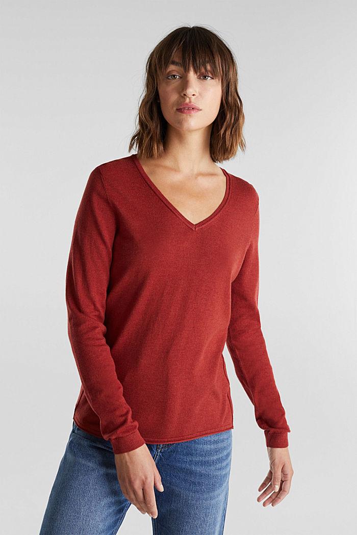 Basic V-Neck-Pullover, Organic Cotton, TERRACOTTA, detail image number 0