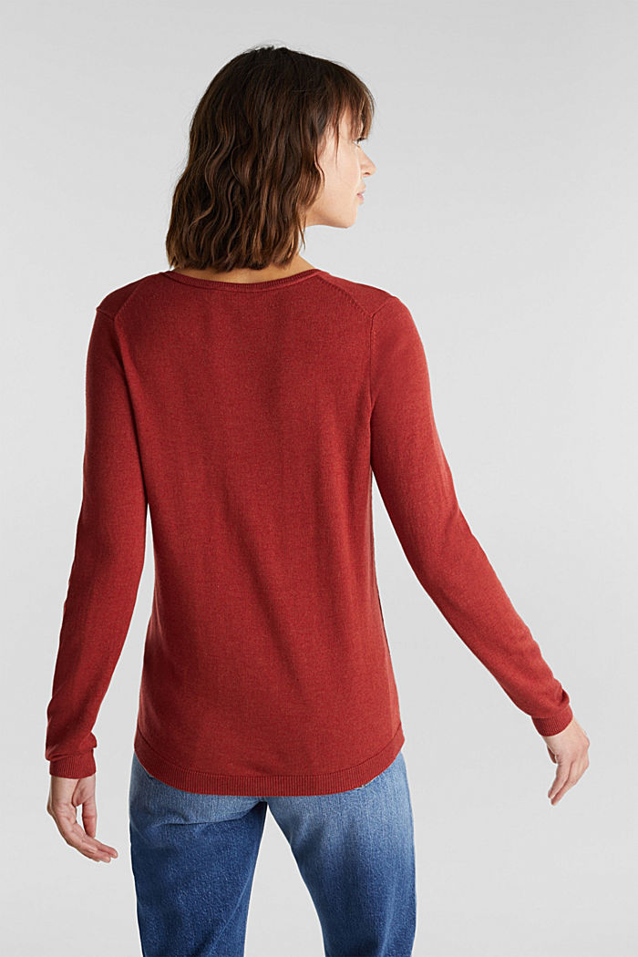 Basic V-Neck-Pullover, Organic Cotton, TERRACOTTA, detail image number 3