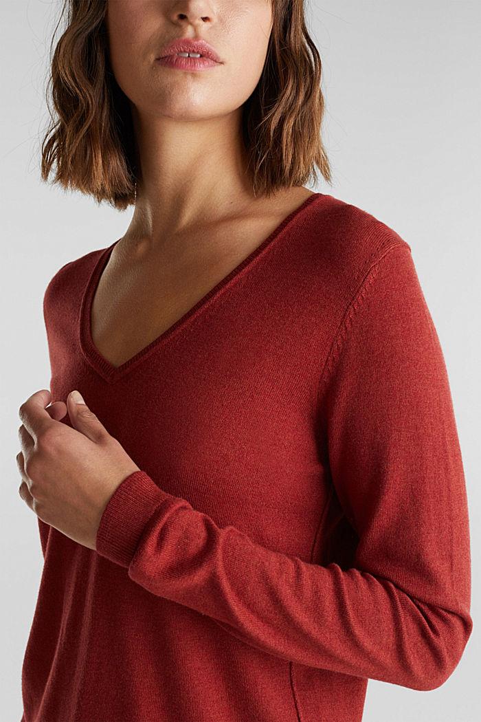 Basic V-Neck-Pullover, Organic Cotton, TERRACOTTA, detail image number 2