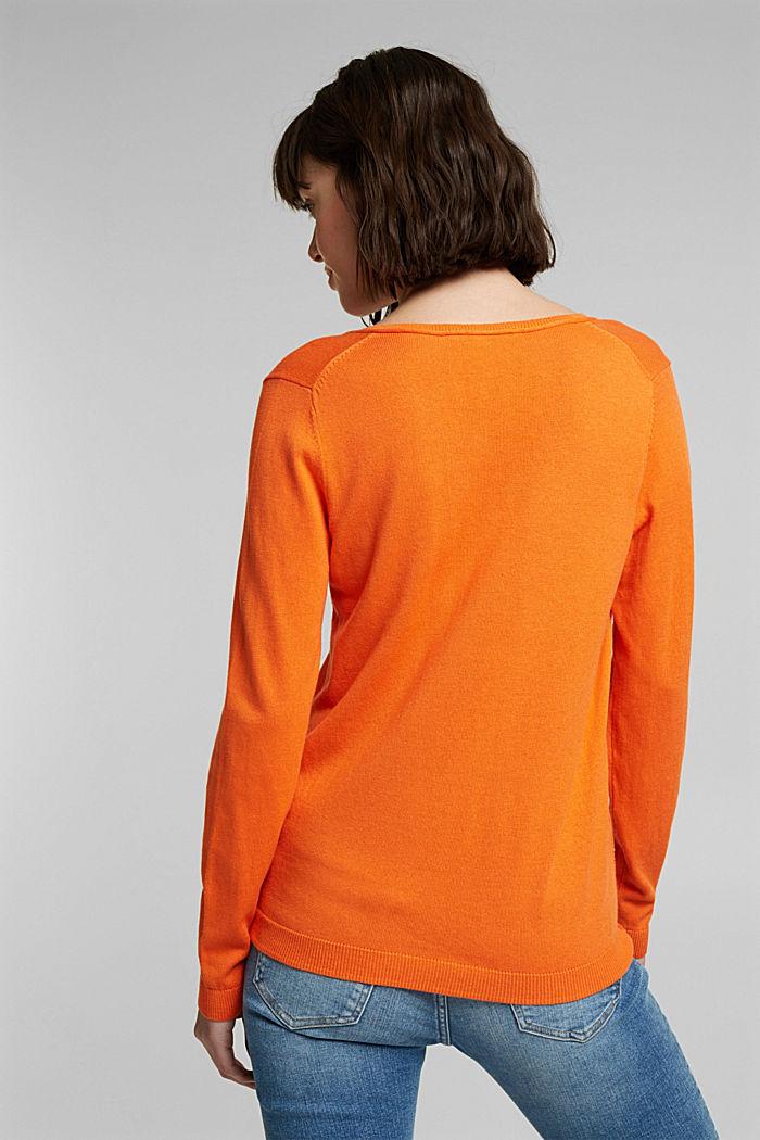 Basic V-Neck-Pullover, Organic Cotton, ORANGE, detail image number 3