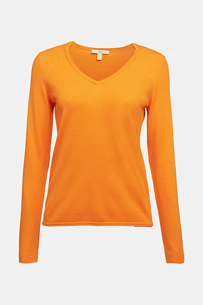 Basic V-Neck-Pullover, Organic Cotton, ORANGE, detail image number 4