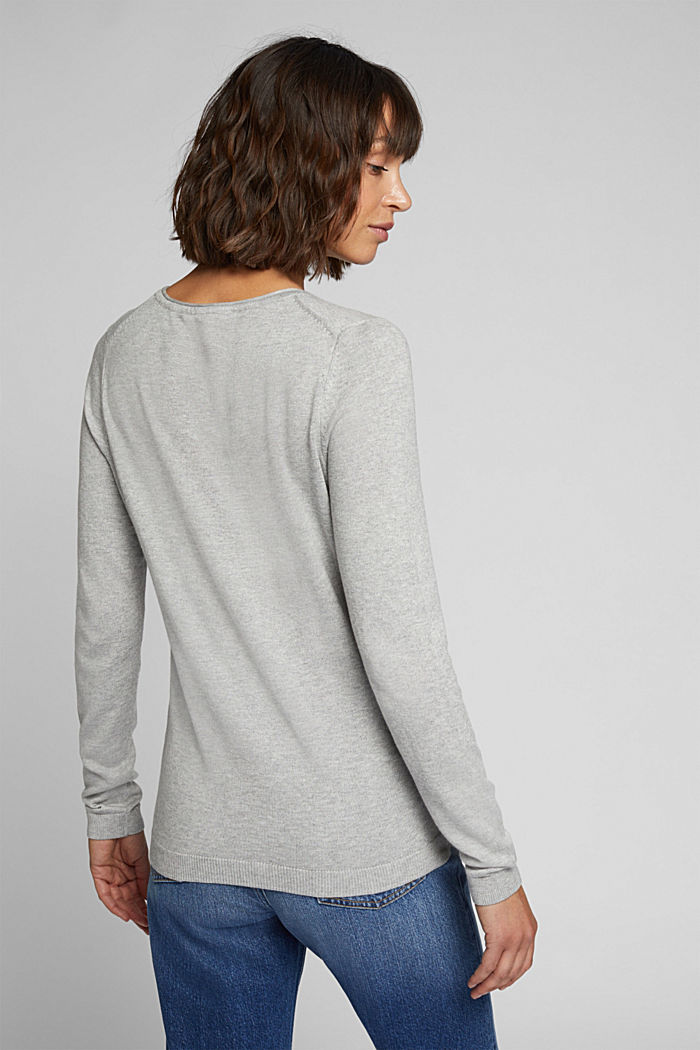 Basic crewneck jumper, organic cotton, LIGHT GREY, detail image number 3