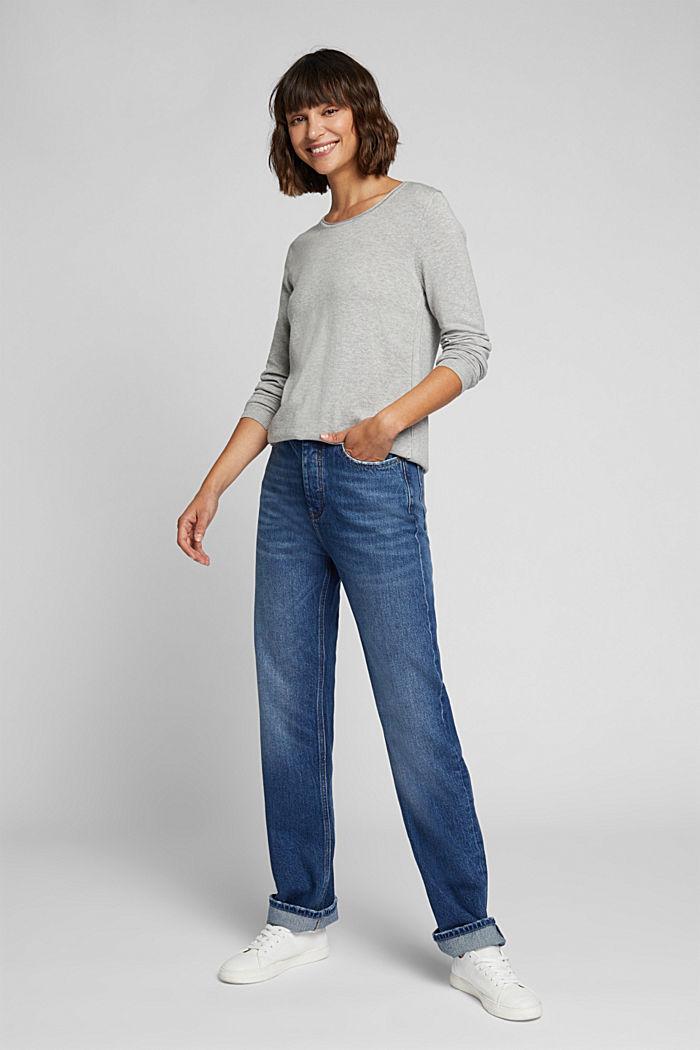 Basic crewneck jumper, organic cotton, LIGHT GREY, detail image number 1