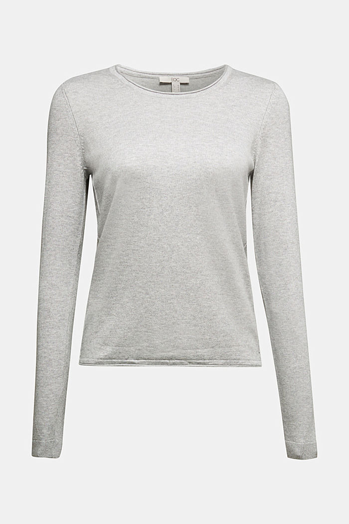 Basic crewneck jumper, organic cotton, LIGHT GREY, detail image number 5