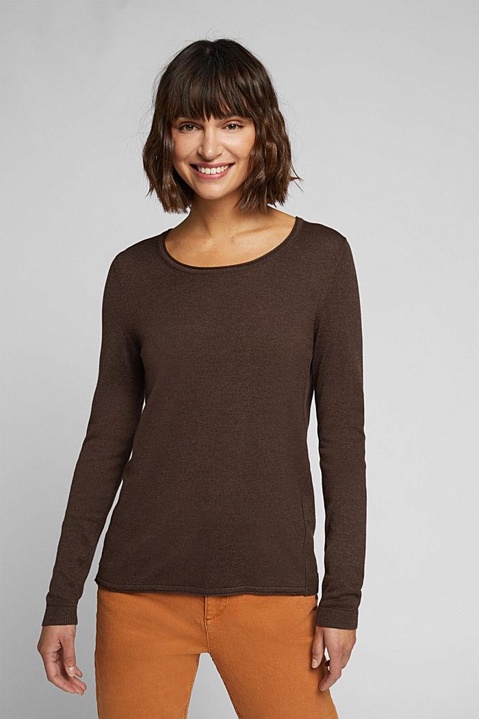 Basic crewneck jumper, organic cotton, DARK BROWN, detail image number 0
