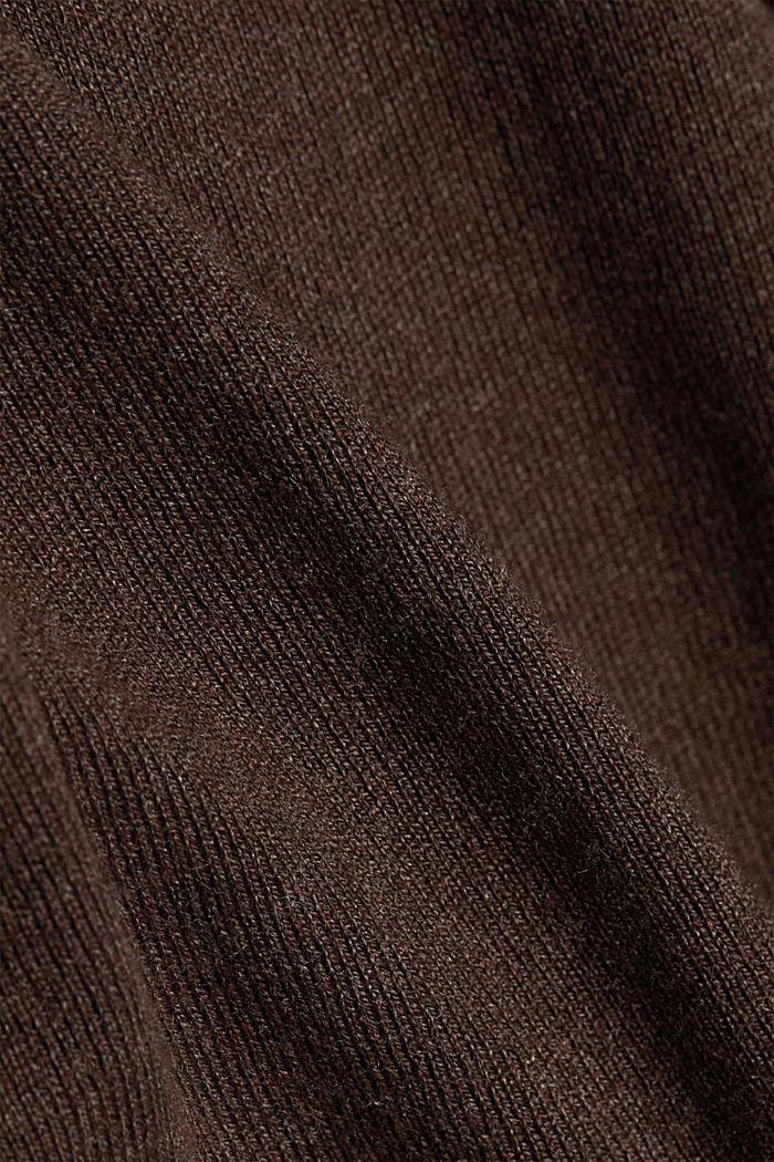 Basic crewneck jumper, organic cotton, DARK BROWN, detail image number 4