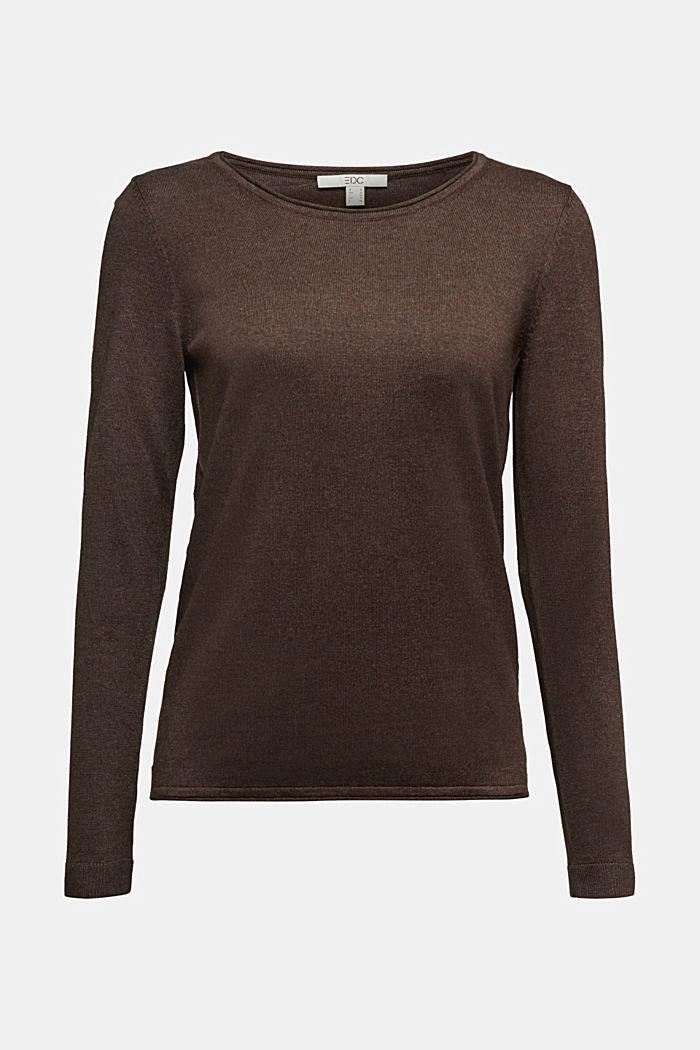 Basic crewneck jumper, organic cotton, DARK BROWN, detail image number 6