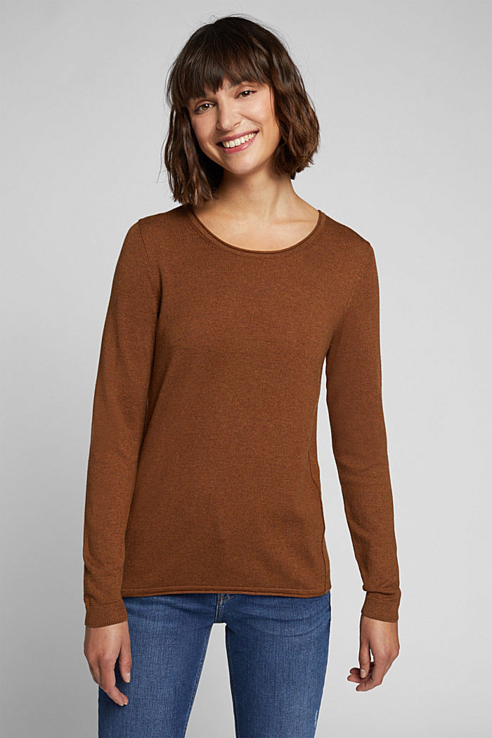 Basic crewneck jumper, organic cotton, TOFFEE, detail image number 0