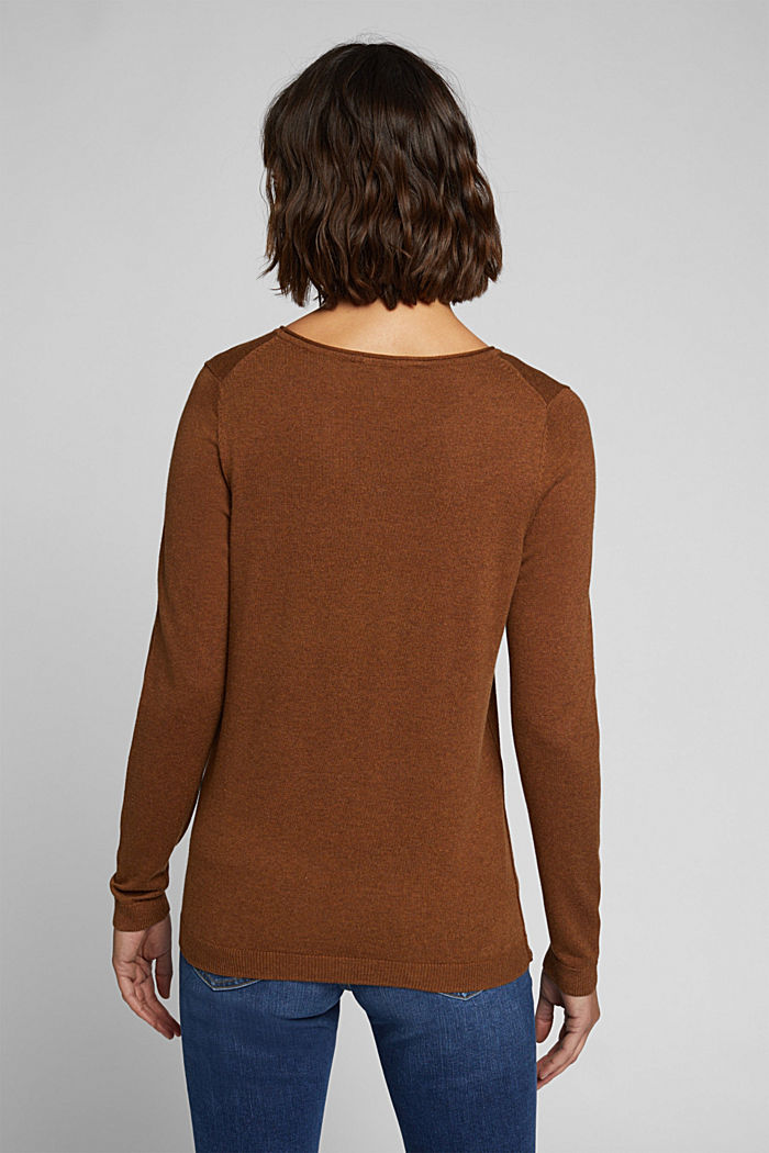 Basic crewneck jumper, organic cotton, TOFFEE, detail image number 3