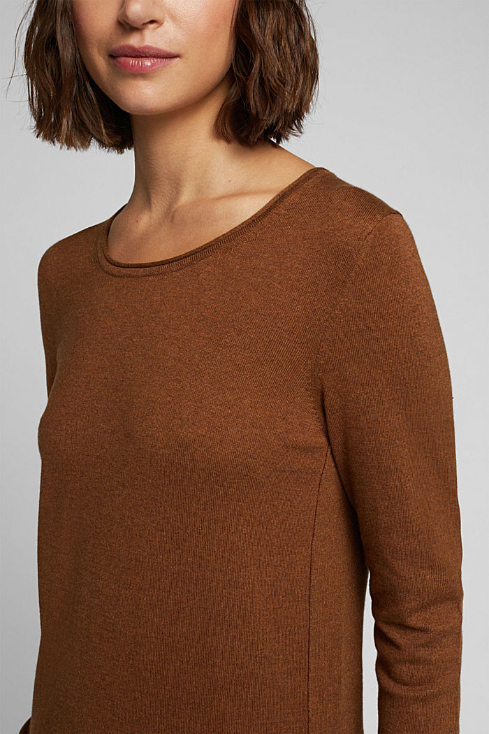 Basic crewneck jumper, organic cotton, TOFFEE, detail image number 2